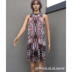 Bohemian Print Halter Mini Dress 💛🌵